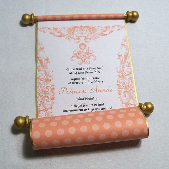 paper scroll invitations for princess birthday party in mango and