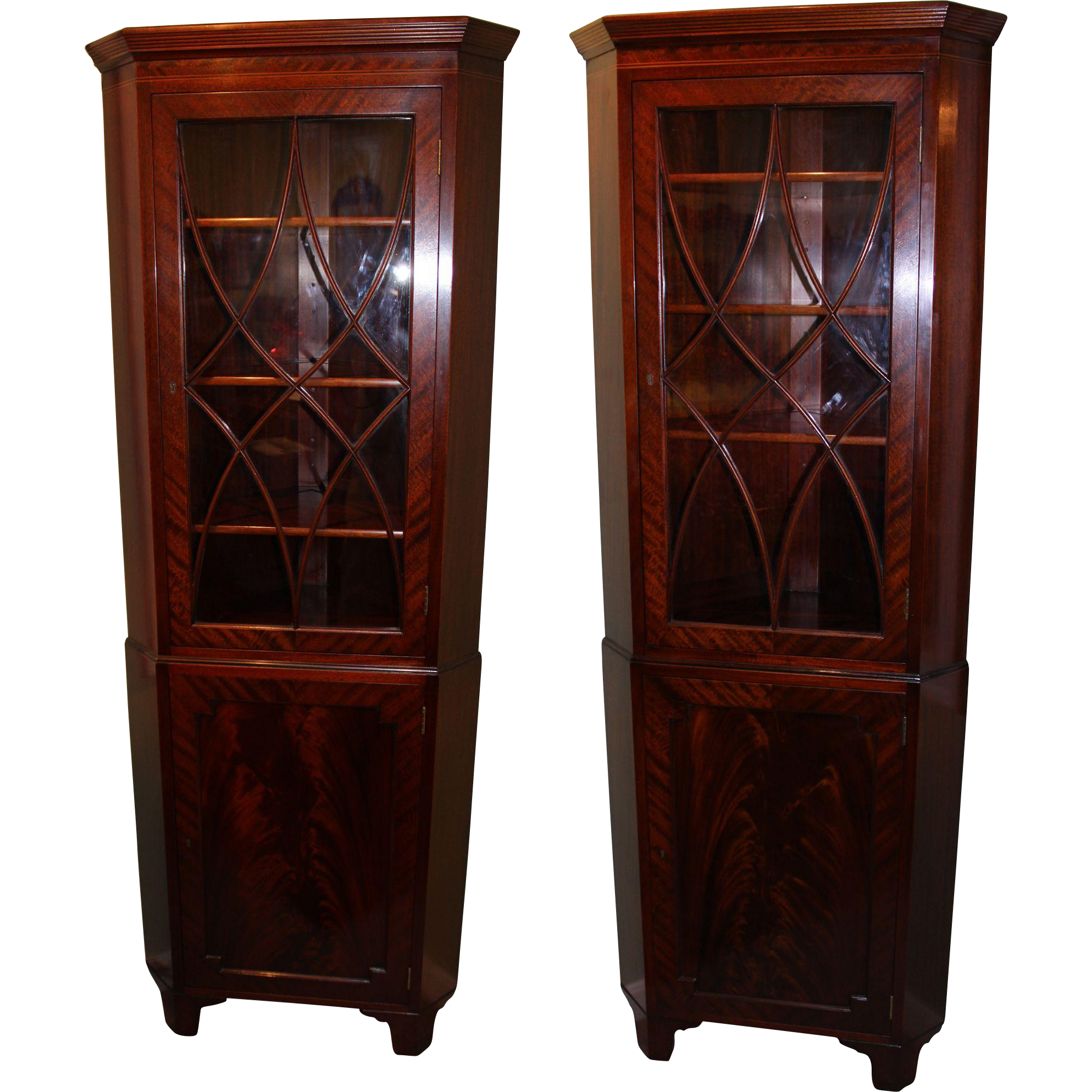 Pair of Sheraton Style Mahogany Corner Cabinets by Old Colony