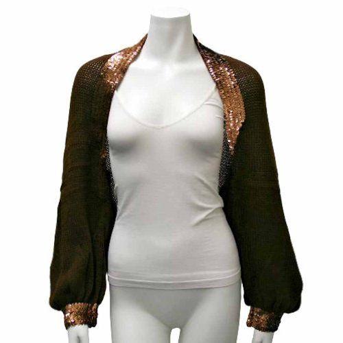 Luxury Divas Brown Sequin Trimmed Knit Shrug Sweater $31.49