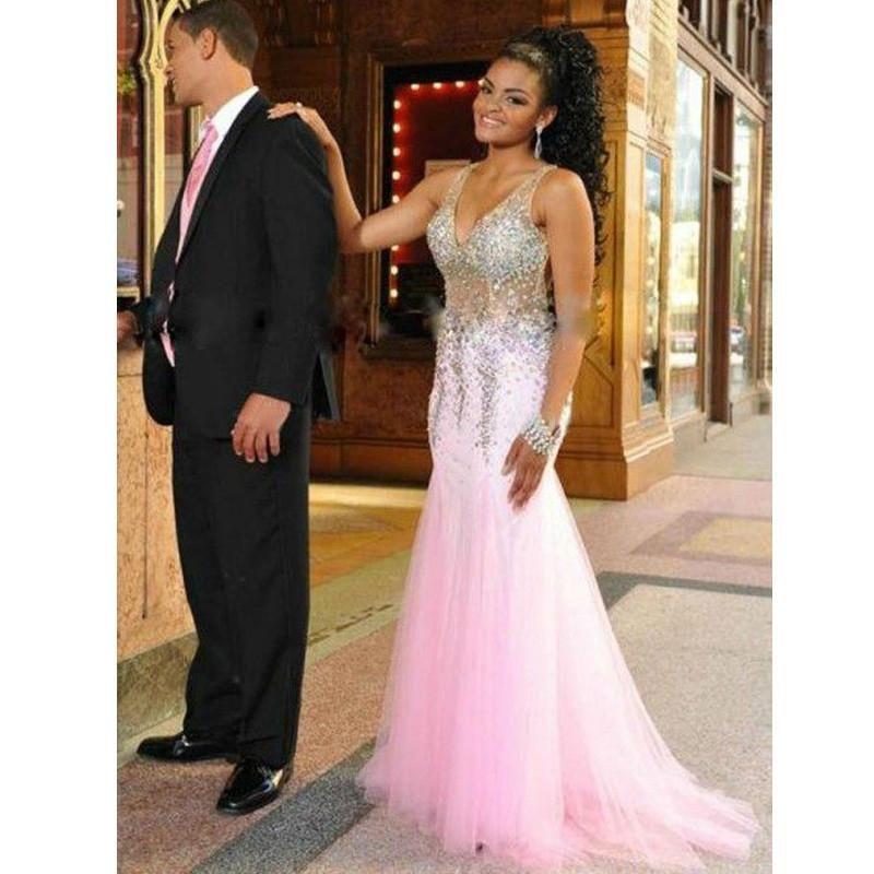 c46e768fb5e1d Pink Sparkly V Neck Heavy Beaded Gorgeous Long Prom Dresses, PM0090 ...