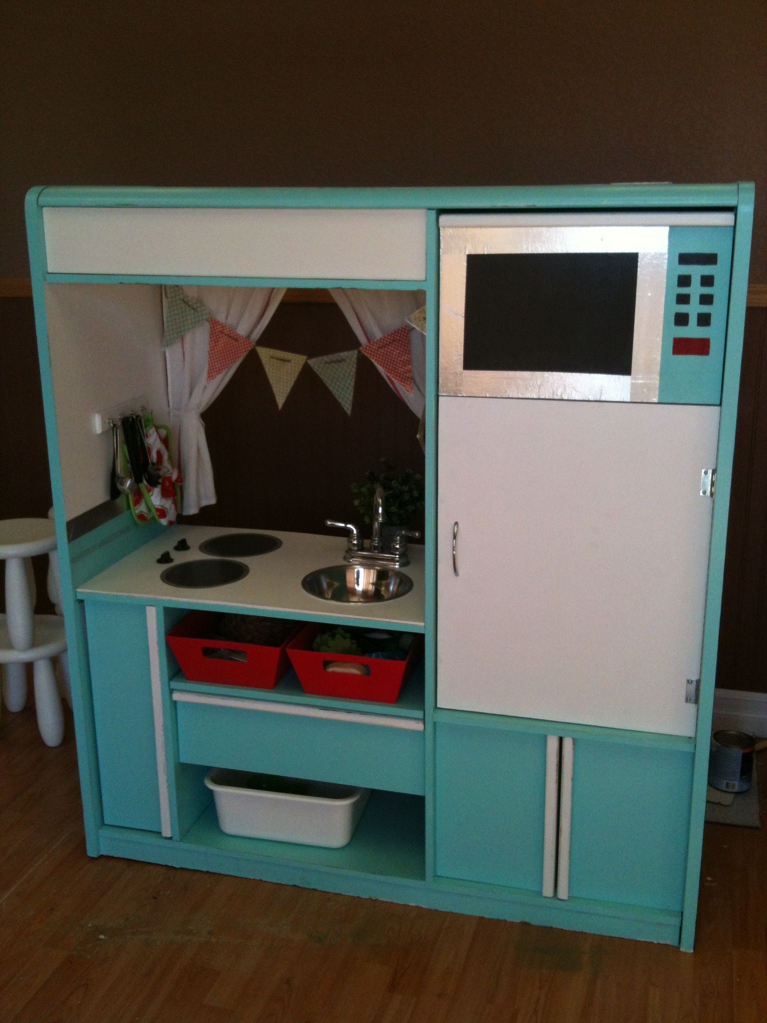 Kids Play Kitchen Made From A Tv Stand Inspiration These Are So Sand Adorbs