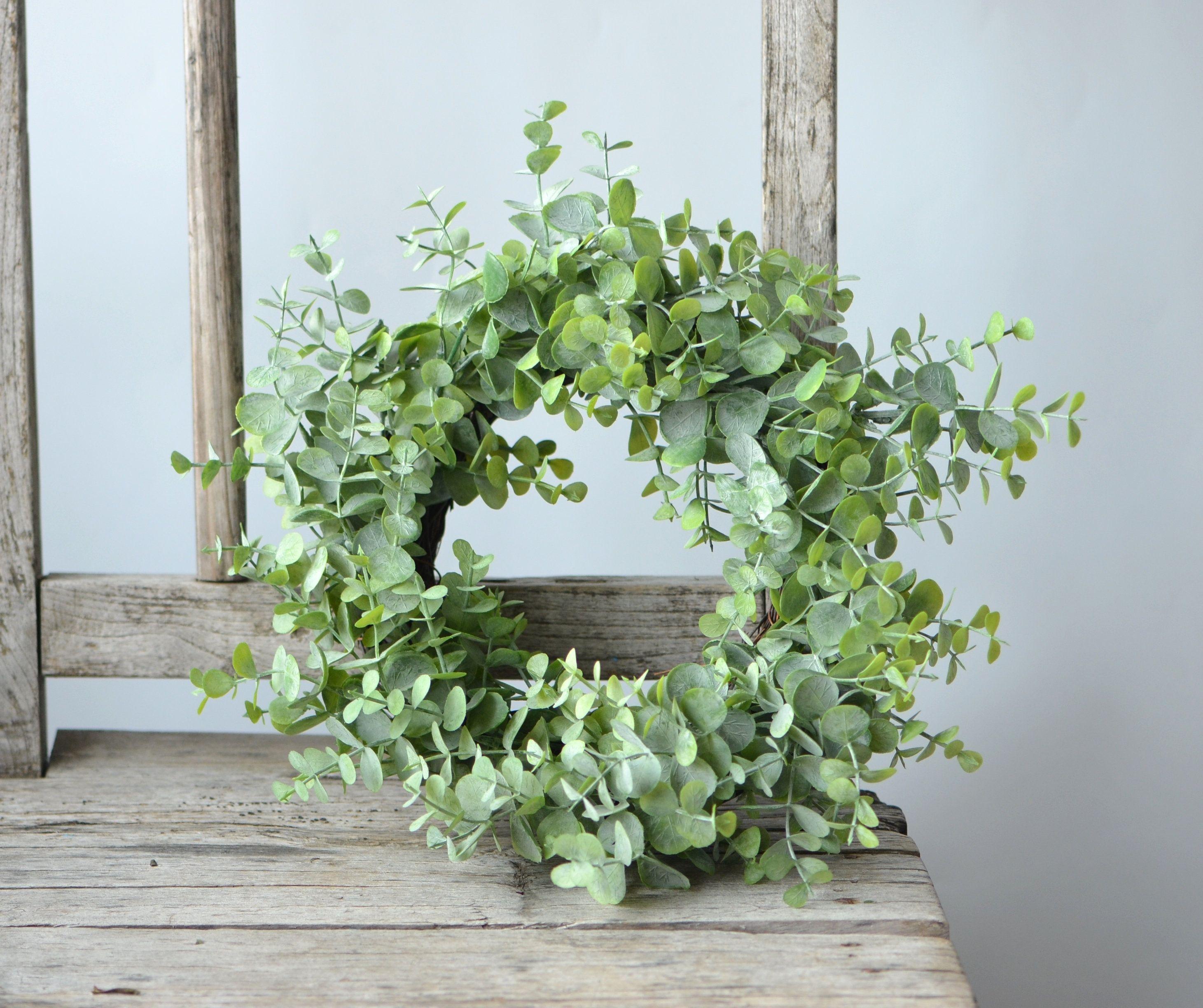 Photo of Frosted eucalyptus wreath, candle wreath, wedding centerpieces, mini peasant wreath, artificial eucalyptus