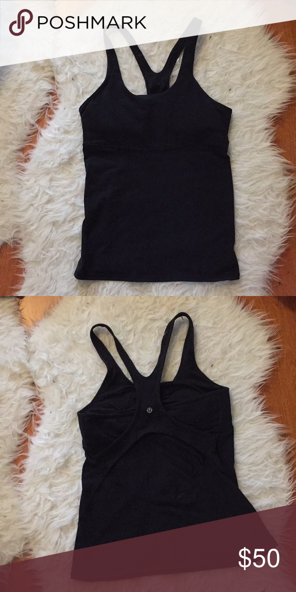 59fa595cab9f0 Lululemon cool racerback tank in black size 8 Great tank with built in bra.  Made
