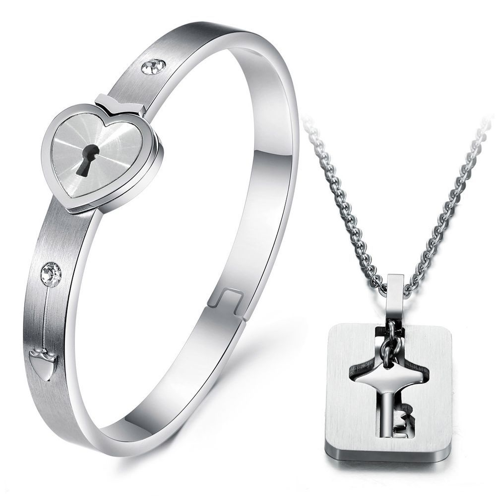 Love Key Lock Matching Bracelet Necklace Set For S And Other Jewelry At Yoyoon Free Shipping Returns On All Orders
