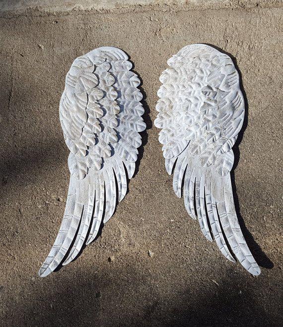 Metal Angel Wings Wall Decor Cross Rustic By Pinkelephants03