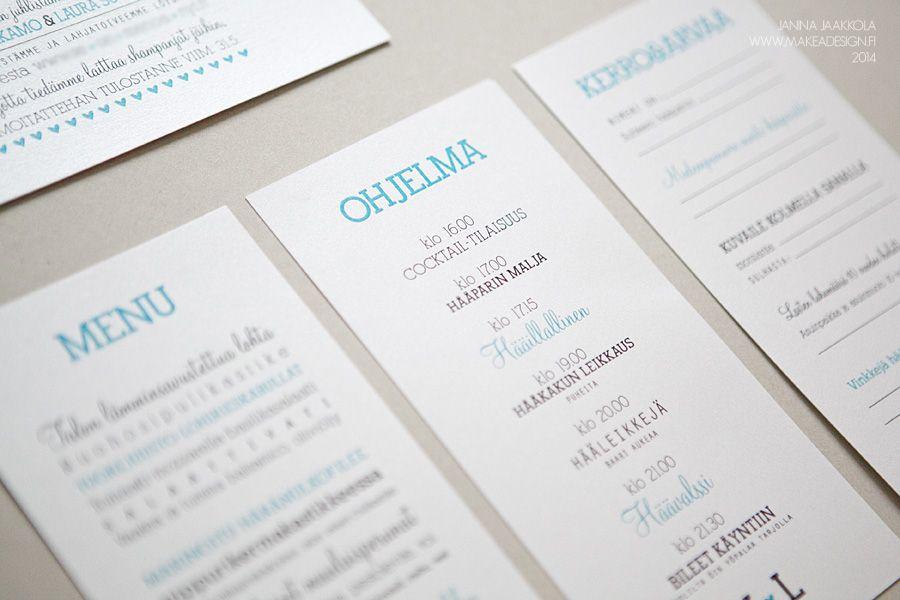 häät graafinen suunnittelu hääkutsun tilaus ohjelma menukortti vieraskirja…
