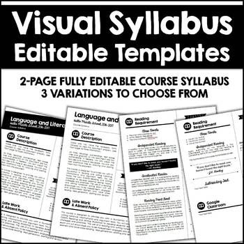 Editable Visual Syllabus Templates  Pack  Syllabus Template