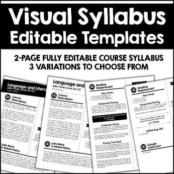 Editable Visual Syllabus Templates  Pack  Syllabus Template