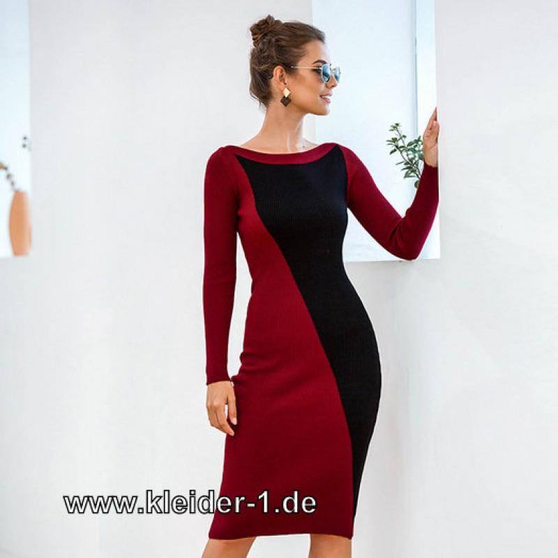 Elegantes Business Strick Kleid Sommerkleid 2020 Zweifarbig Elagant Business Midi Kleid Kleider Knielang Node Damenmode Robe In 2020