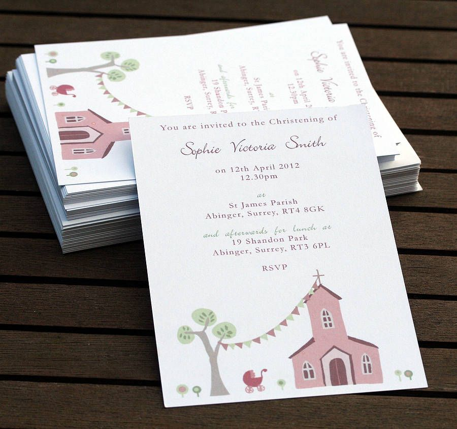 personalised christening invitations by molly moo designs