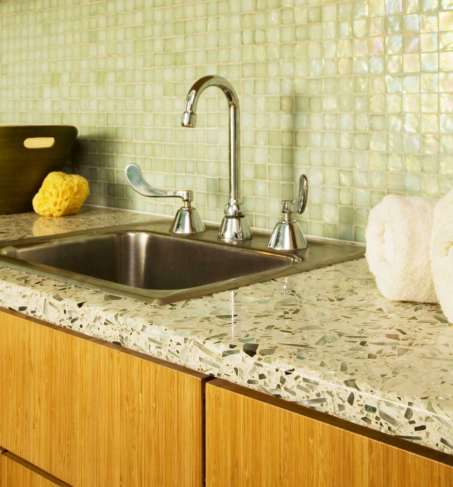 Countertops Denver Co Recycled Galss Counter With Mother Of Pearl Backsplash
