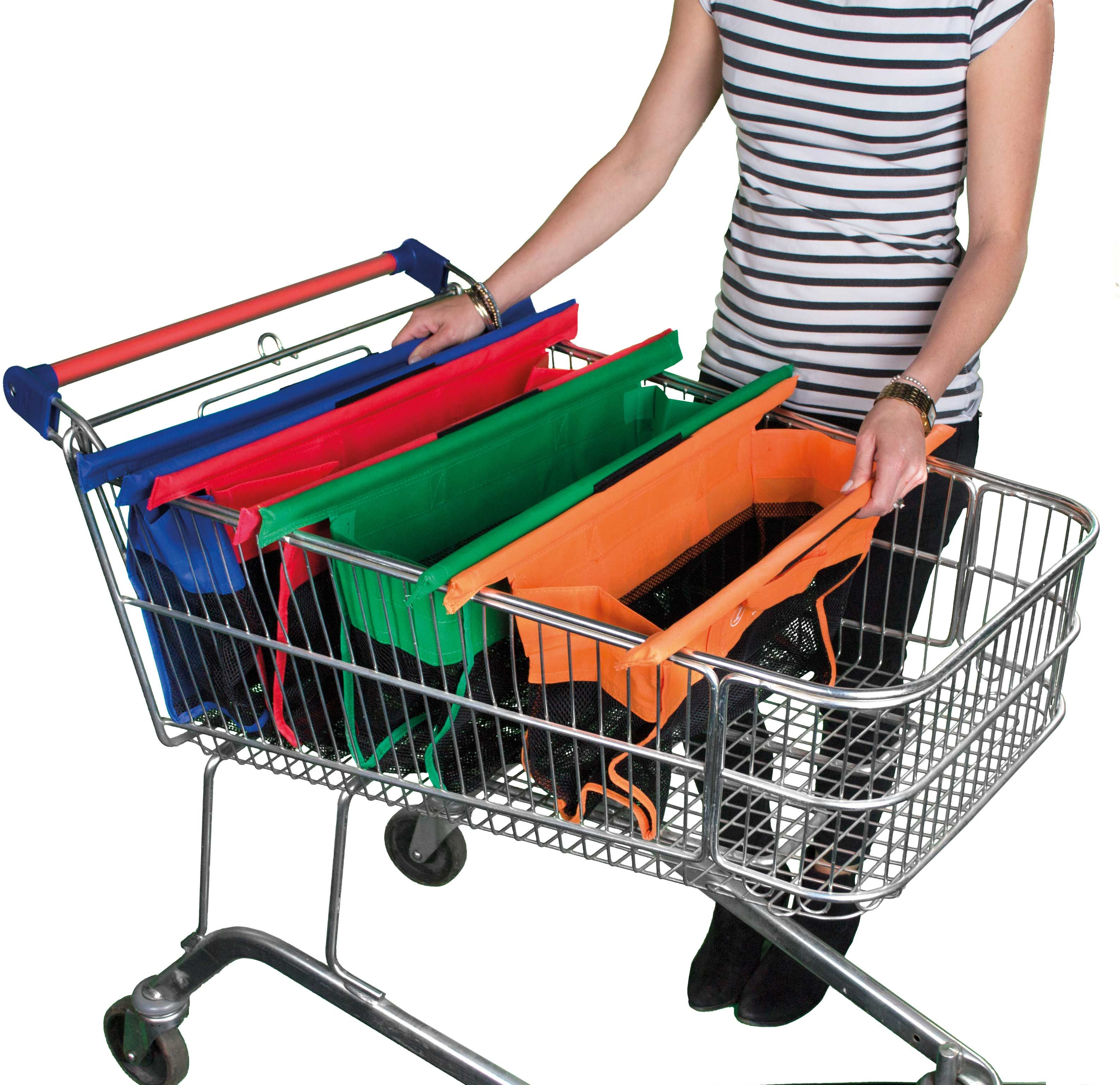 Amazon.com: Trolley Bags Reusable Shopping Bags with Velcro, Pack ...