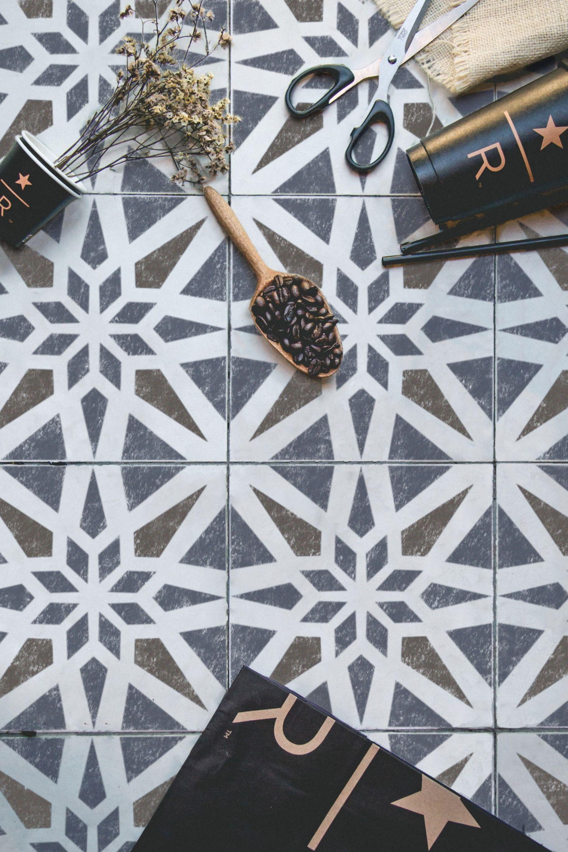 Modern Geometric Tile Stencil Tile Stencil Geometric Tiles Floor Stencils Patterns