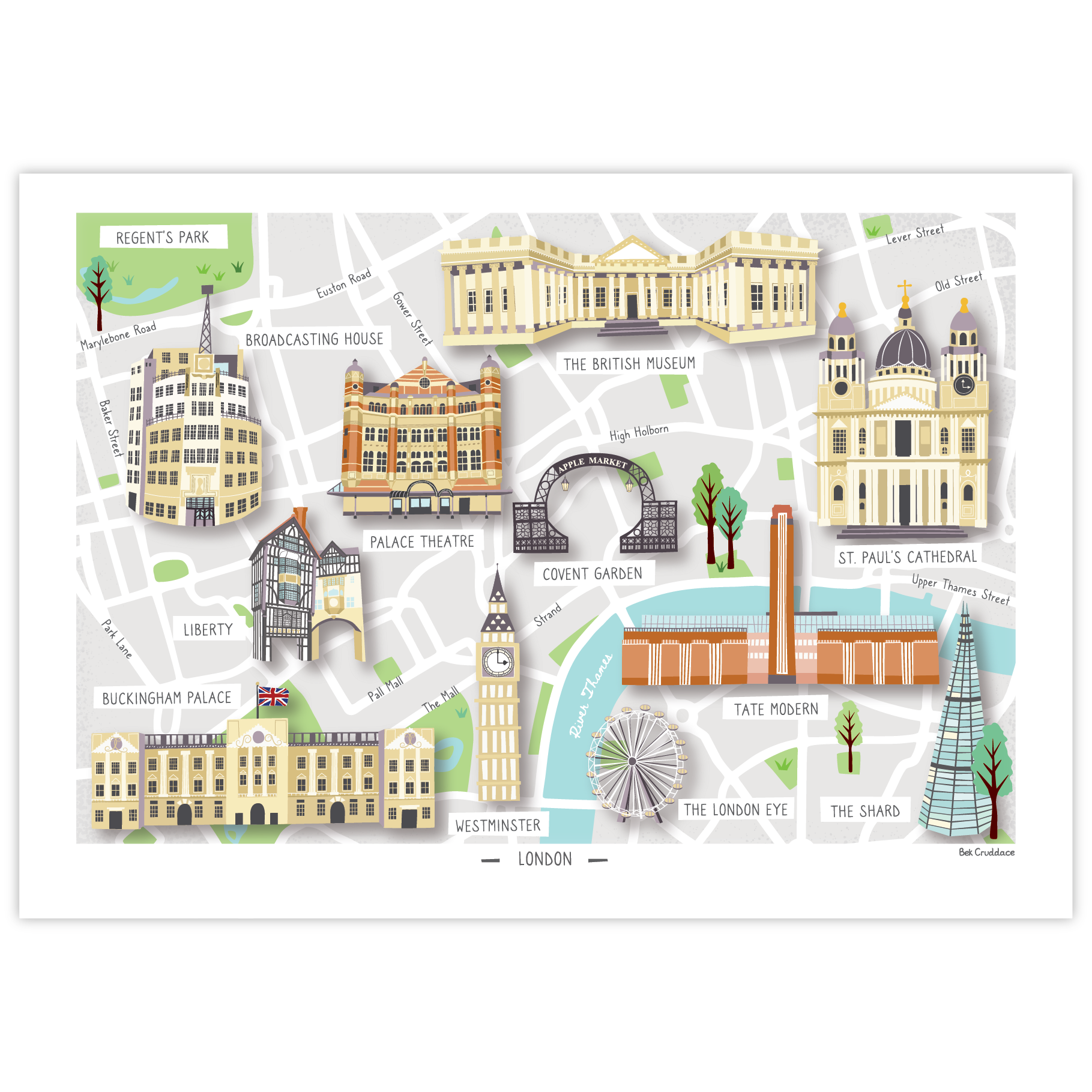 Illustrated Map Of London Print Illustrated Map London Print Museum Gift Shop