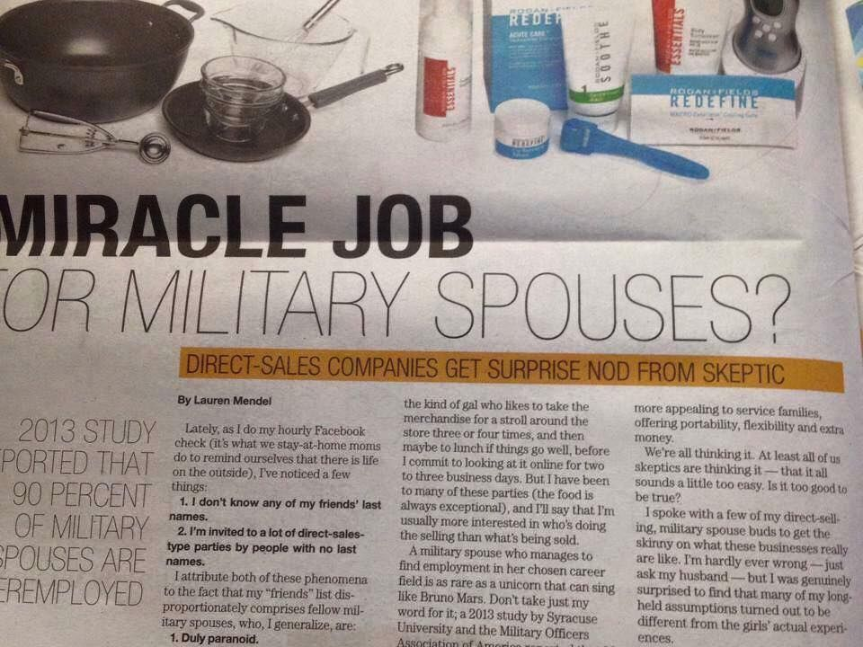 Calling ALL Military Spouses!!! Look what Army Times has to say about Rodan + Fields!  One of the things that intrigued me about Rodan + Fields was the mobility of this business!! That's what makes this such an amazing gig for military spouses who can rarely have civilian careers due to frequent moves. Why?  •Work from home  •Work when I want with who I want  •Award Winning Products  •PROACTIV Doctors  •Residual Income  •No Deliveries •No Inventory Who do you know that needs this