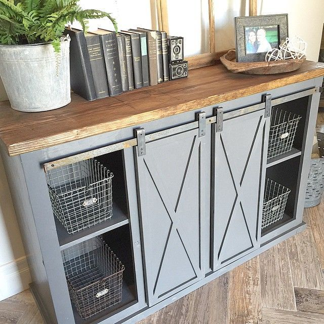 Close up of the gray sliding barn door console table for for Narrow barn door