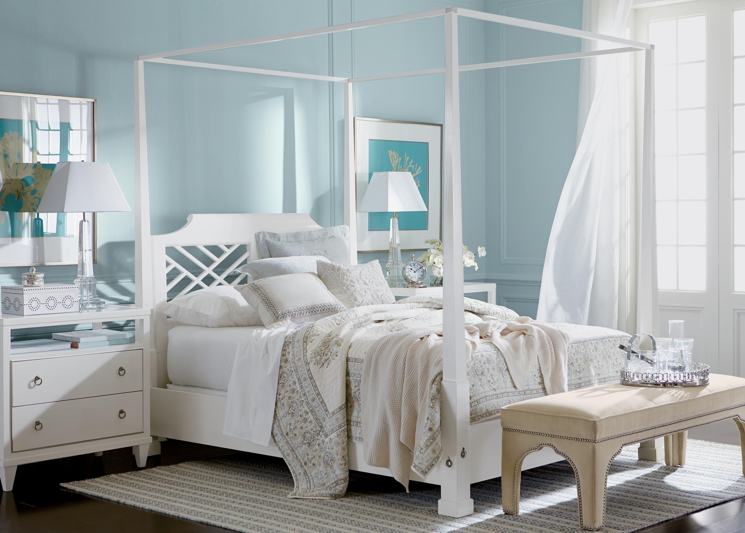 A Stunning Open Canopy Bed The Color Of Clouds With