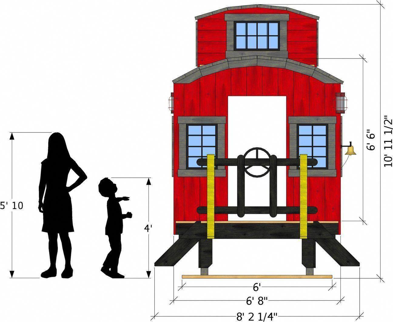 Front Isometric View Of Caboose Playhouse Plan Playhouseplans Playhousebuildingplans Buildplayhouse Play Houses Build A Playhouse Playset Plans Diy backyard train plans