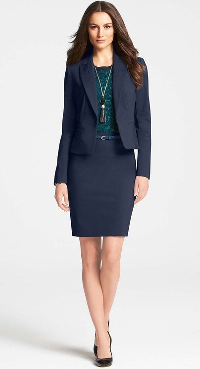 af73138c2d Ann Taylor - blue skirt suit. Ann suits are great for men who want to get  into skirted dressing at the office!