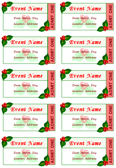 Avery Raffle Ticket Template Event Ticket Templates   Make Your Own  Printable Tickets  How To Make Tickets For An Event For Free