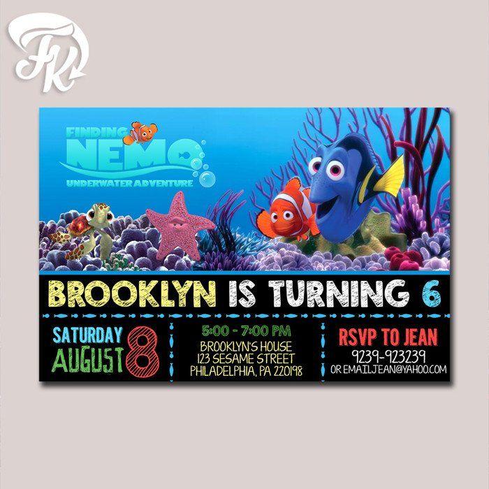 Finding Nemo Underwater Adventure Birthday Party Card Digital ...