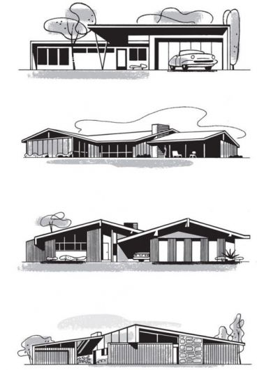 Mid Century Modern Architecture Working Drawing 1950s
