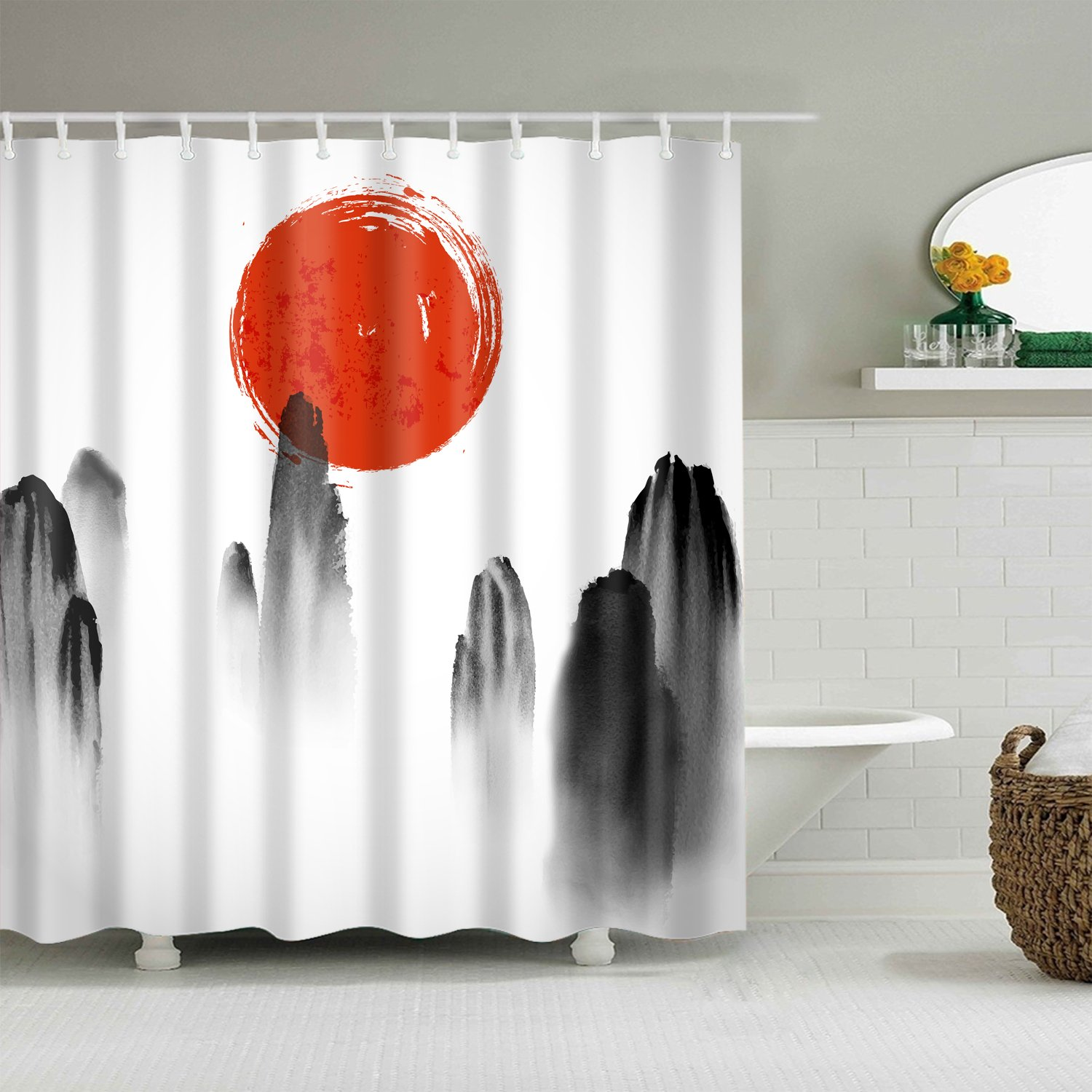 Old Chinese Monochrome Mountain Painting Sun Shower Curtain