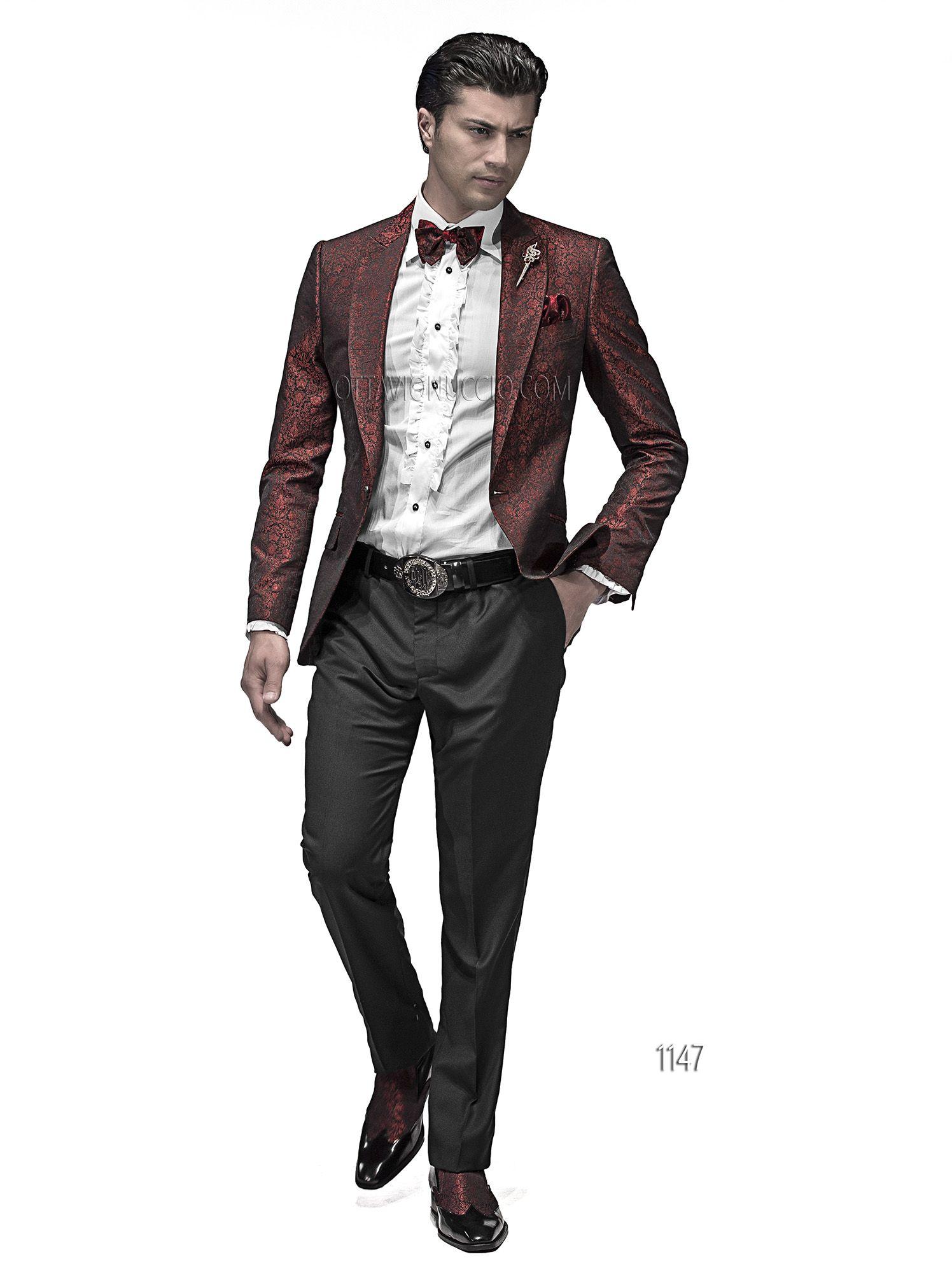 promo code 33c7c 0ba9a Abito da sposo uomo con giacca jacquard nero rosso ...