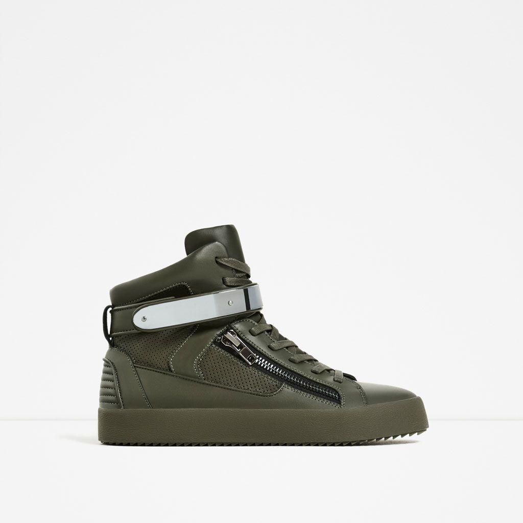 9aa8e58a9f0529 ZARA - MAN - KHAKI ZIPPED HIGH TOP SNEAKERS | marks | Shoes ...