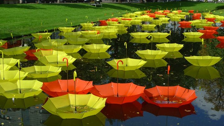 A Floating Sea of Colorful Umbrellas - My Modern Metropolis