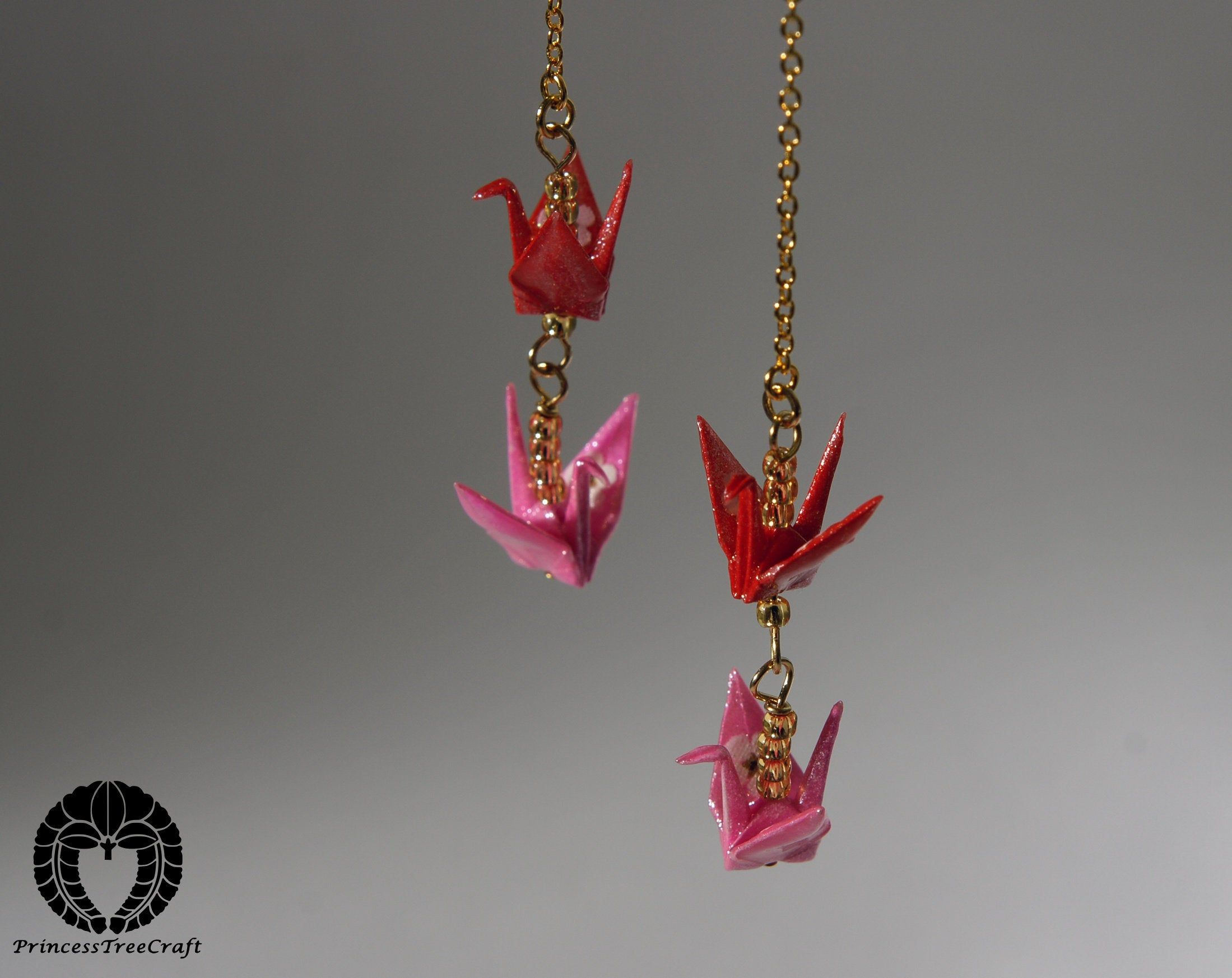 Photo of Origami cranes two floor threader earrings – red and pink cranes