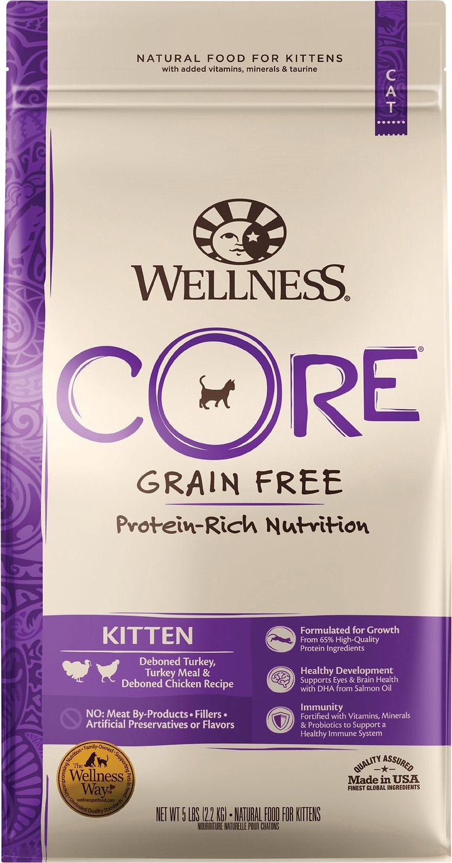 Wellness Core Grain Free Kitten Formula Dry Cat Food 5 Lb Bag Chewy Com Dry Cat Food Wellness Core Grain Free