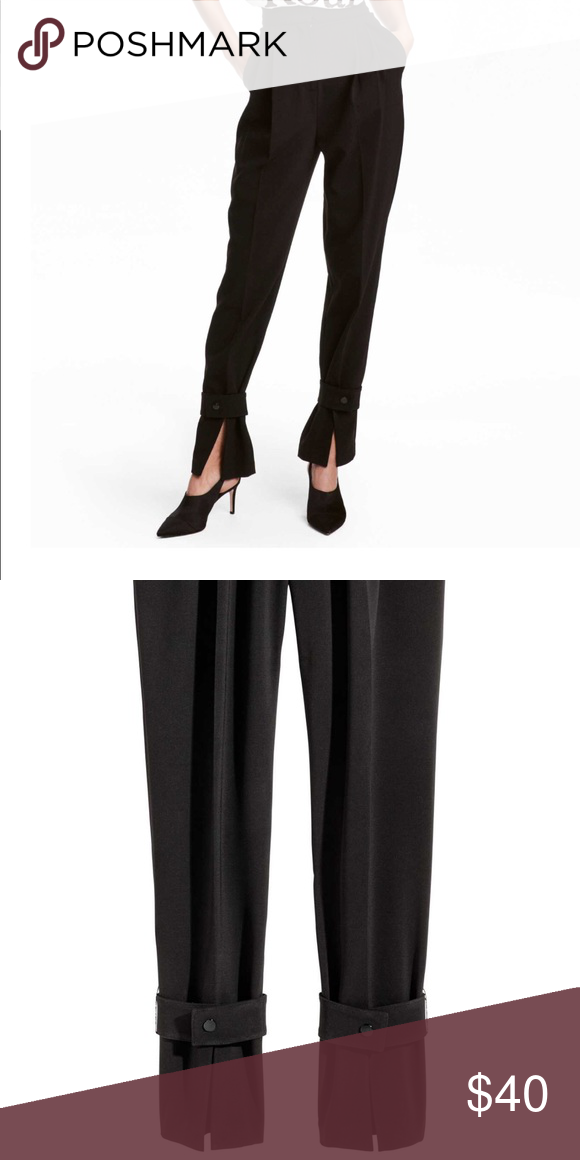 ee07379622 H&M Black Pants High waist pants in thick woven fabric. Pleats at the top,  side pocket and welt back pockets. Dropped gusset and wide tapered leg with  a ...