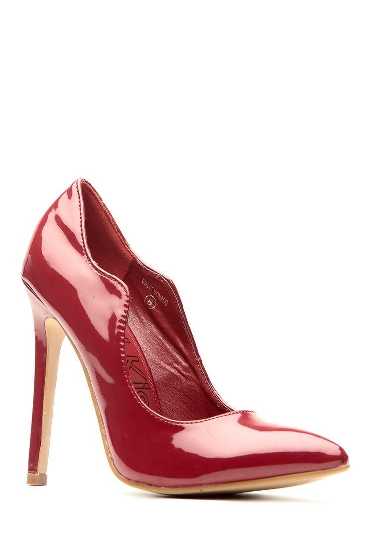 dfece5e8e3d Women s Fashion High Heels   Wine Faux Patent Scalloped Pointed Toe Heels   Cicihot  Heel Shoes