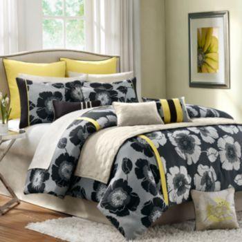Madison Park Jolee 12 Pc Comforter Set Queen Yellow Bedding