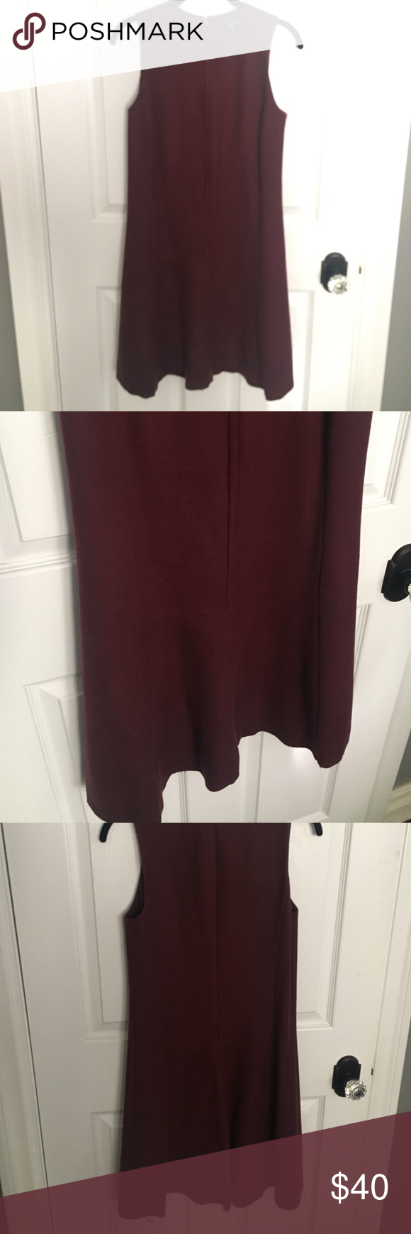 FINAL SALE Madewell Maroon Wool Drop Waist Dress Great dress! Looks awesome with a shirt underneath or a cardigan and tights and boots! Just under 36 inches long. Cannot model, will not fit me Madewell Dresses Midi