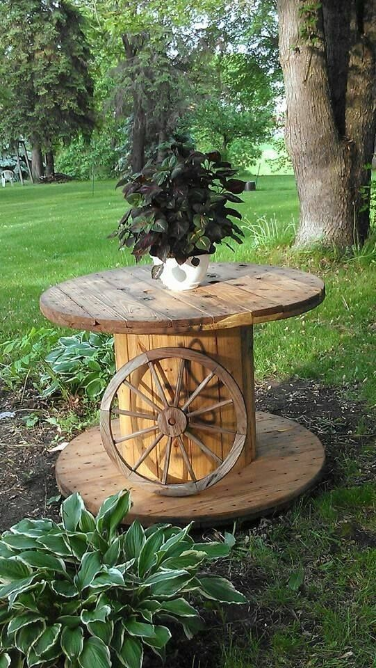 repurposed wire spool home desing 3 furniture pinterest kabeltrommel obstkorb und garten. Black Bedroom Furniture Sets. Home Design Ideas