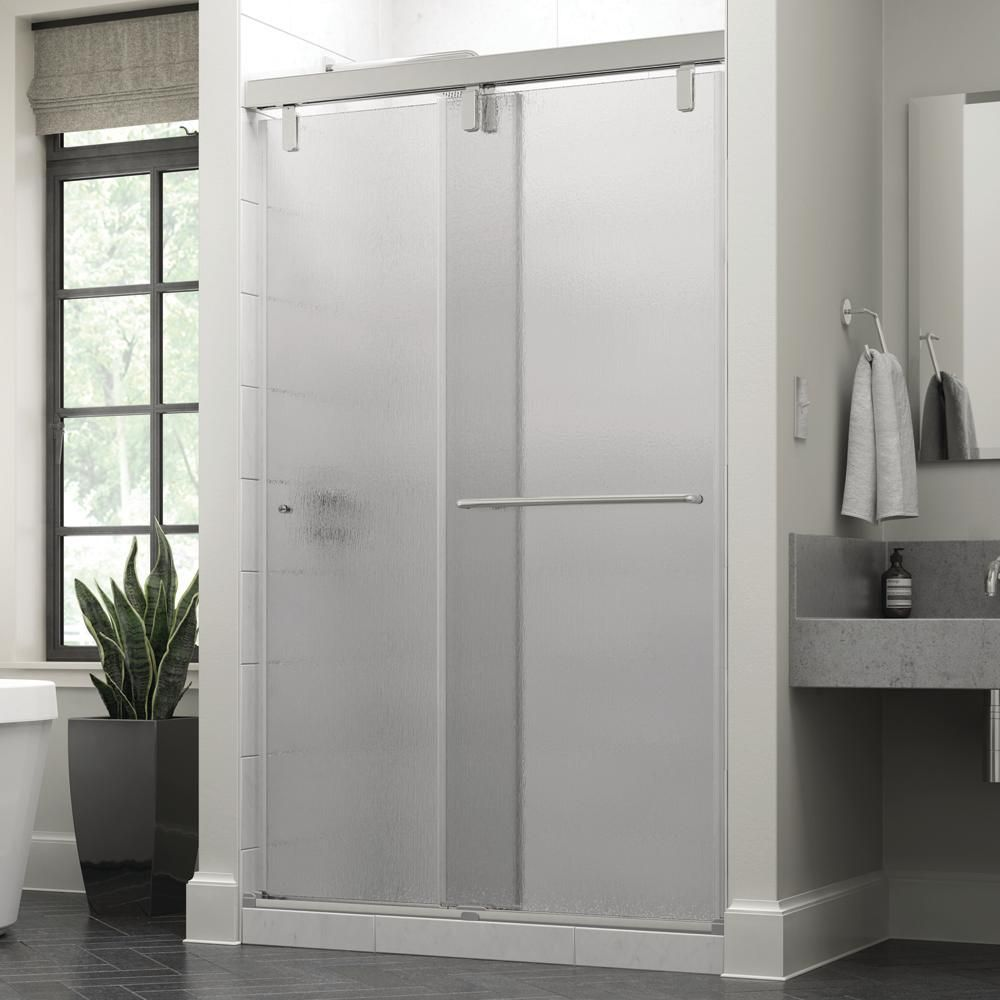 Delta Portman 48 X 71 1 2 In Frameless Mod Soft Close Sliding Shower Door In Chrome With 3 8 In 10mm Rain Glass Sd3442766 Shower Doors Frameless Sliding Shower Doors Shower Door Handles