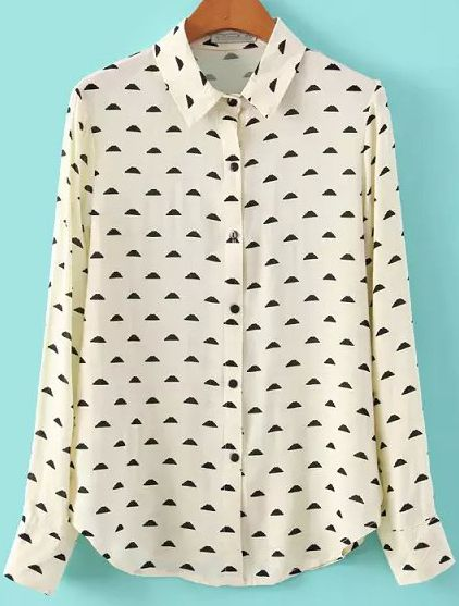 Clouds Print Beige Blouse