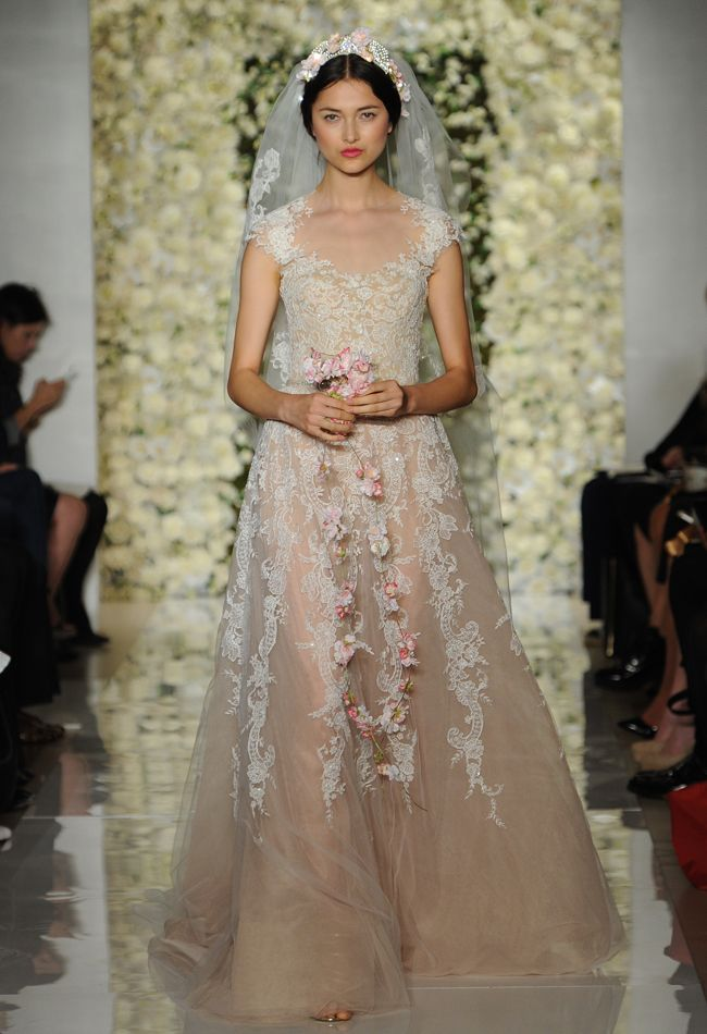 Champagne Underlay Lace Wedding Dress Reem Acra Dresses Fall 2017 Maria Valentino