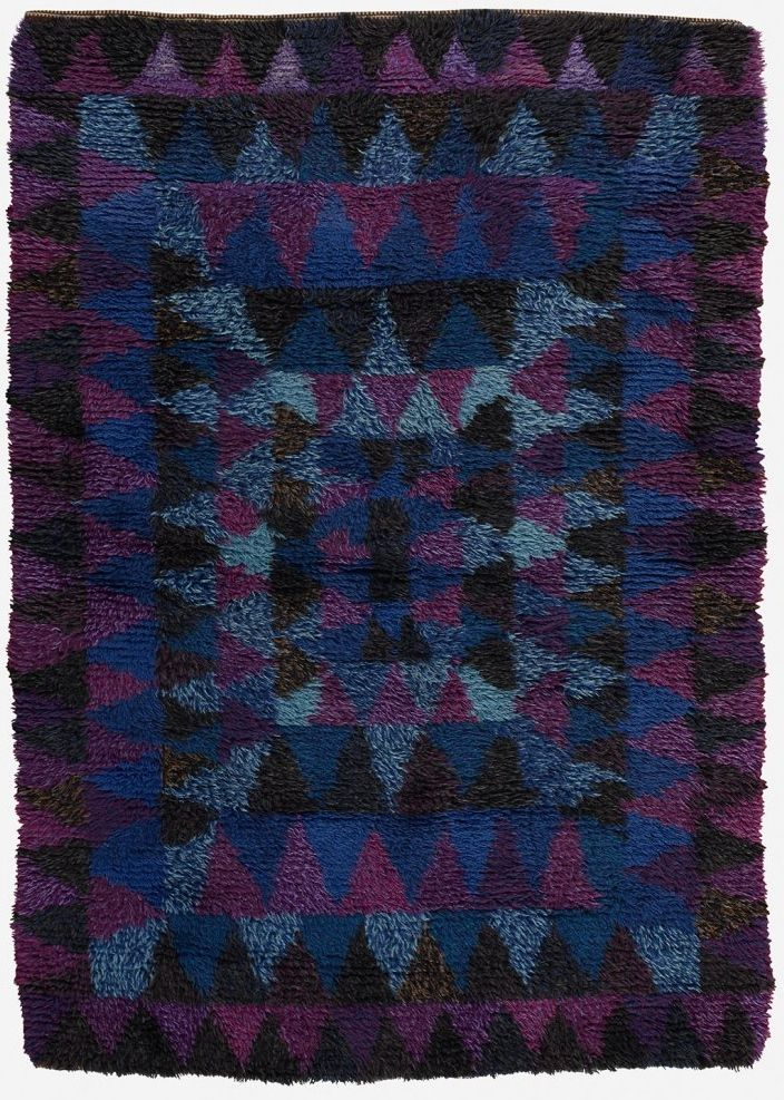Anonymous Hand Woven Wool Rya Rug C1950