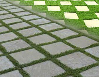 Losa de cemento chino lavado sobre cesped sin instalacion for Adoquines para jardin precio