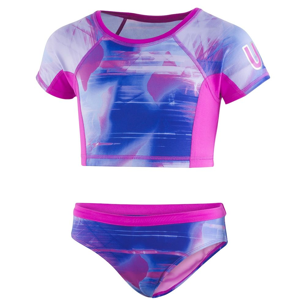 86251056e5a Girls 7-16 Under Armour Electo Galaxy Crop Rashguard Top & Bottoms Swimsuit  Set, Size: 8, Med Purple
