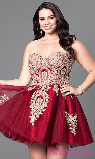 f55876fc2 Plus-Size Strapless Short Homecoming Dress with Lace in 2019 ...