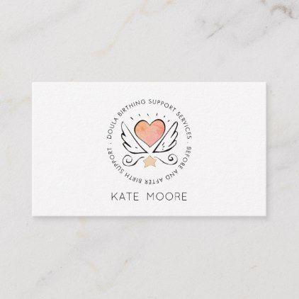 Whimsical Baby Doula Birth Coach Business Card