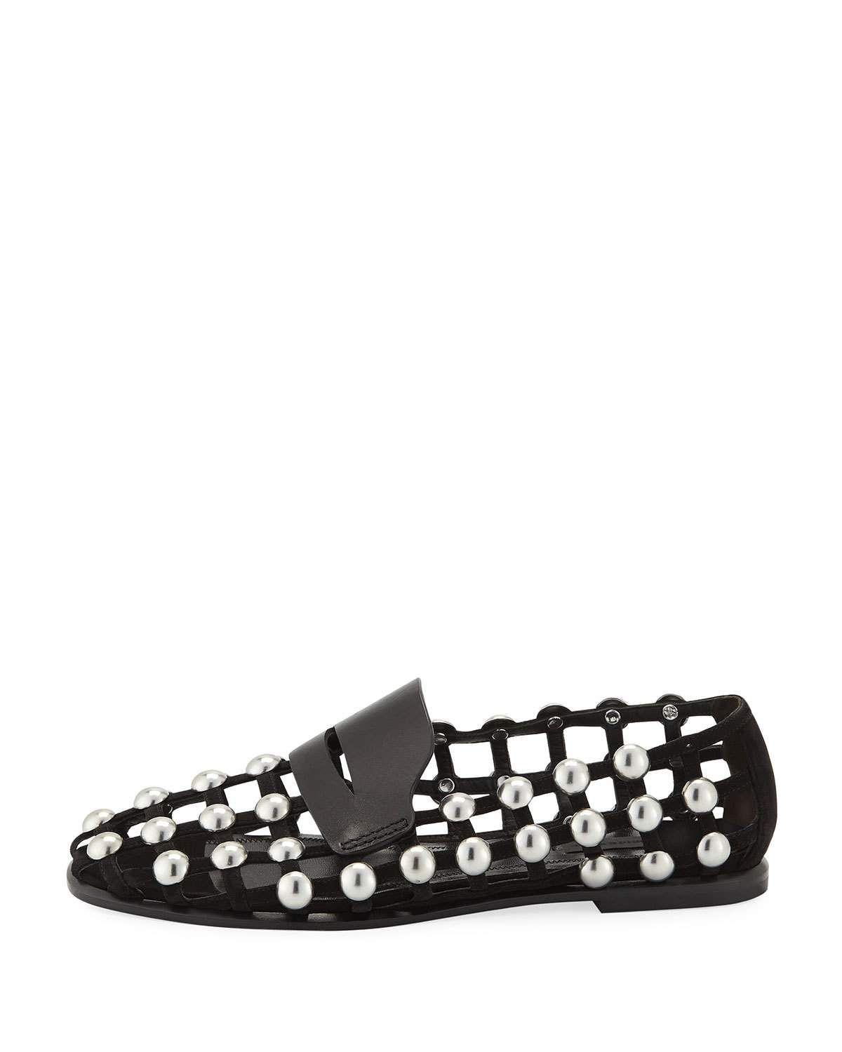 87916d9e951 Alexander Wang Sam Studded Suede Cage Loafers
