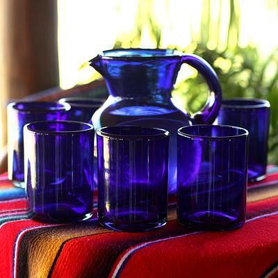 UNICEF Market   Blue Recycled Large Glass Tumblers (Set of 6) - Cobalt Charm