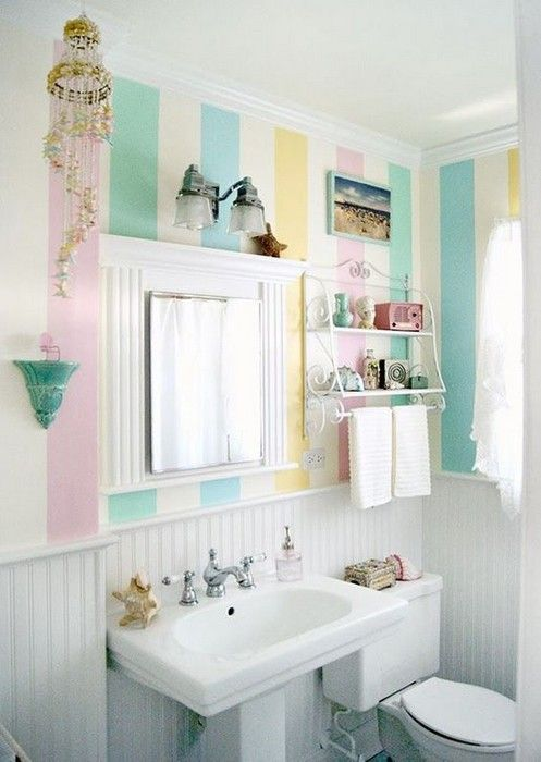 White beadboard bathroom with pastel striped wallpaper jpg