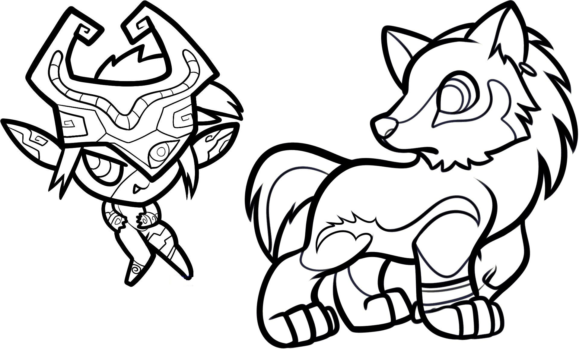 Midna And Link Wolf Coloring Pages For Children At The Library
