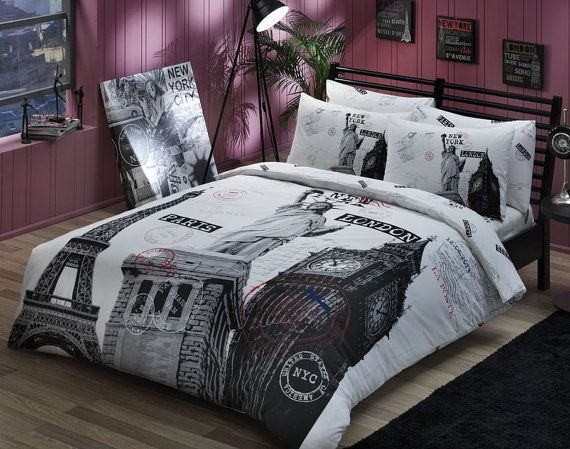 Paris London New York Twin Queen Double Bedding By Dekorative